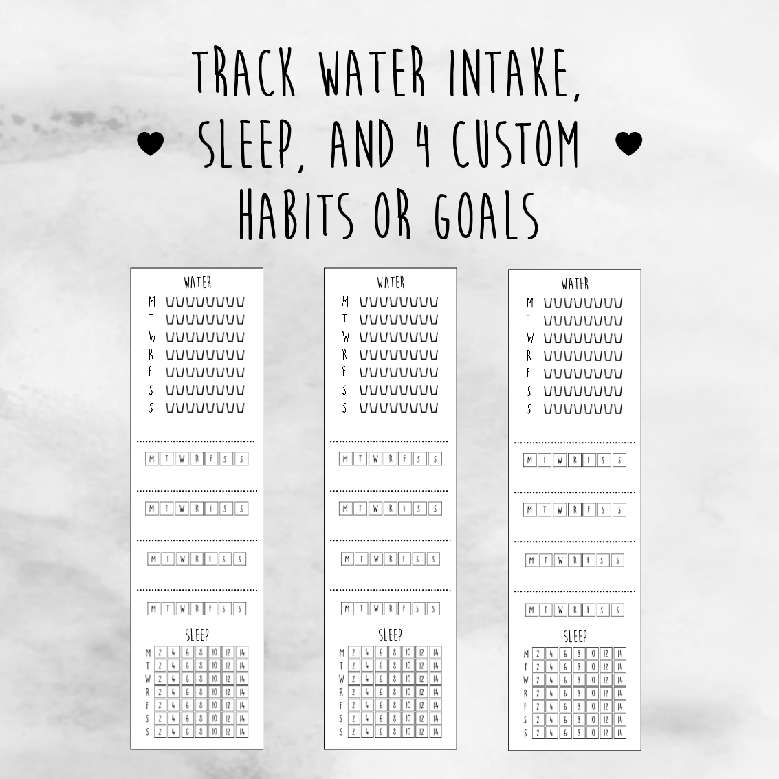 photograph about Sleep Tracker Printable named Lower Sidebar Tracker: Snooze, H2o Practices [No cost