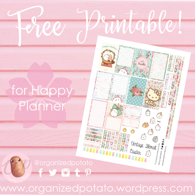 Free Printable for Happy Planner with Molang and Hello Kitty
