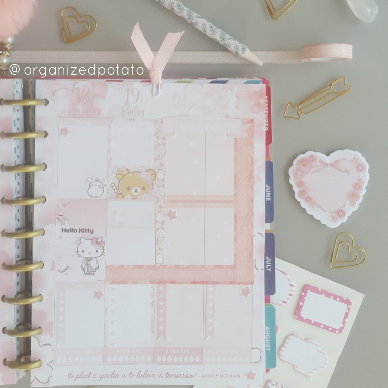 Check out this ultra kawaii pastel planner spread! I used a free printable by @organizedpotato . #plannerinspo #plannerideas