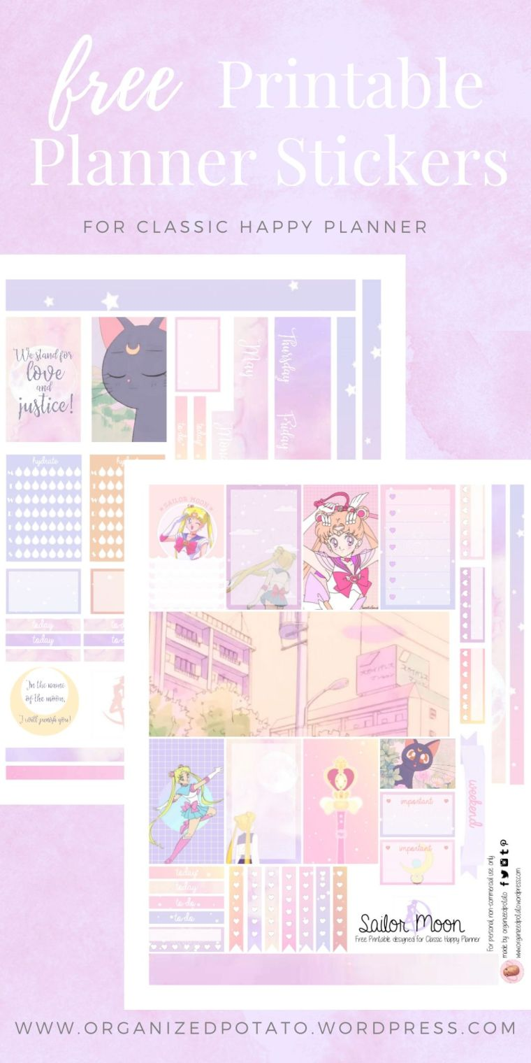 Sailor Moon - Free Printable Planner Stickers for Classic Happy Planner by Organized Potato - For use in Happy Planner, Erin Condren, Bullet Journal, scrapbooking, and other paper crafts. Great free DIY stationery craft! These super kawaii stickers are ready for your planner! Bring Sailor Moon and Luna the black cat into your planner with these dreamy pastel stickers. Perfect for your next DIY stationery project! #bujo #bulletjournal #cute #DIYcrafts #sailormoon #luna #pastelaesthetic #anime #kawaii