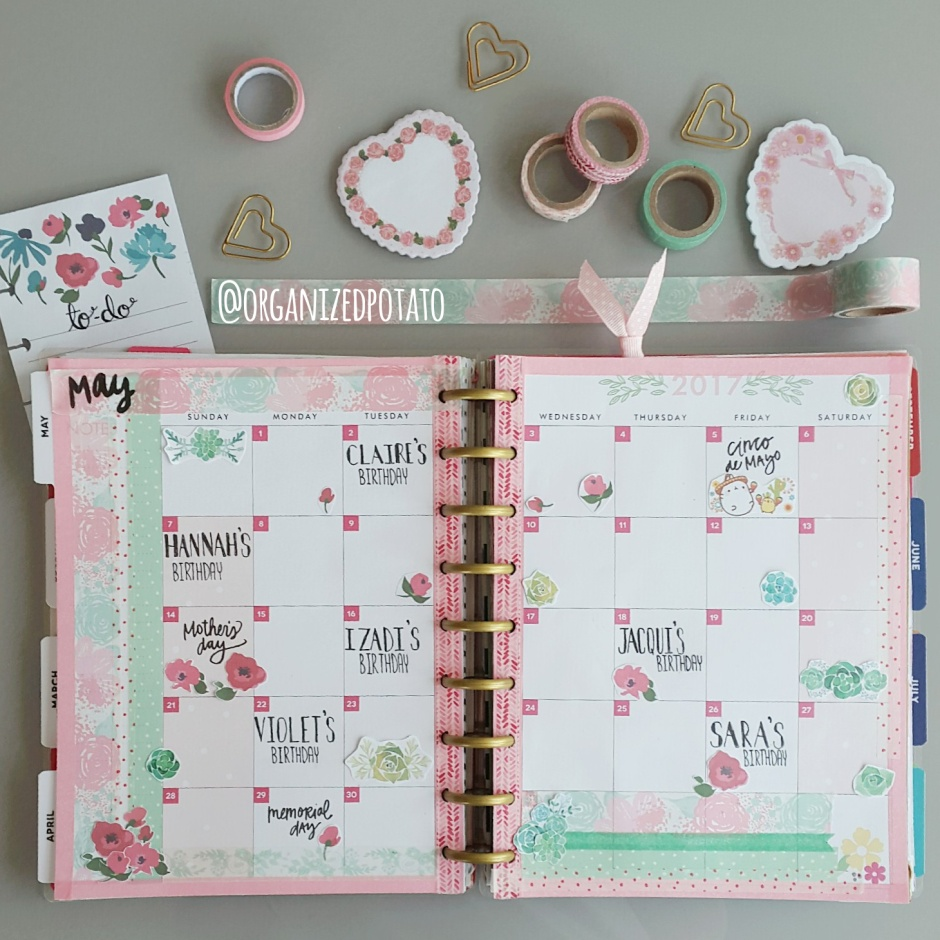 kawaii floral planner spread with pastel colors and flowers