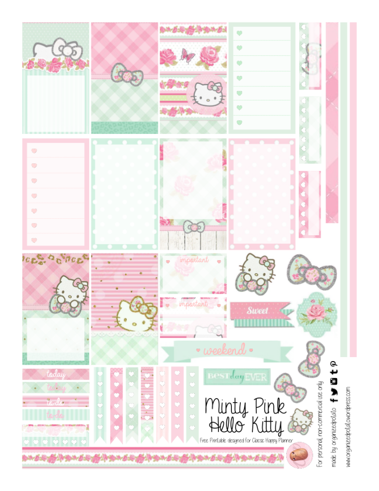 Mint Green and Pastel Pink Hello Kitty - Free Planner Printable for Happy Planner Classic #planner #planwithme #eclp #happyplanner #mambi #create365 #freeprintables #freestickers #plannerprintables #hellokitty #mintgreen #pastel #pink #kawaii #bows