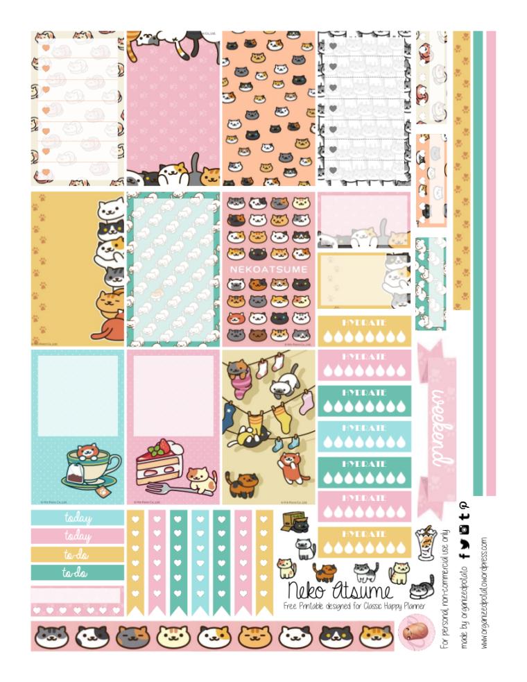 FREE Planner Printable - Neko Atsume. Get it now on the blog! #plannerprintables #plannerideas #plannerinspo #happyplanner