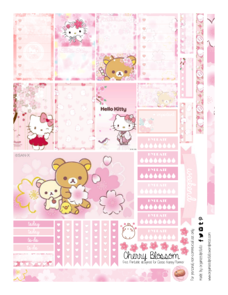 Free Planner Pink Cherry Blossom Printable pg 1