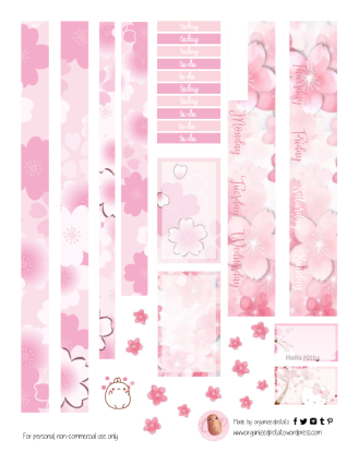 Free Planner Pink Cherry Blossom Printable pg 2