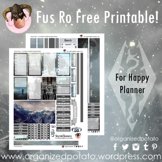 Free Planner Printable - Skyrim Scenery for Happy Planner Classic #planner #printable #freeprintables #plannerprintables #skyrim #erincondren #mambi #meandmybigideas #plannerideas #plannerinspo #plannerstickers #stickers #dovahkiin #snowy #mountains #scenery #ironhelm #fusrodah #winter #organizedpotato #gamergirl #gamer