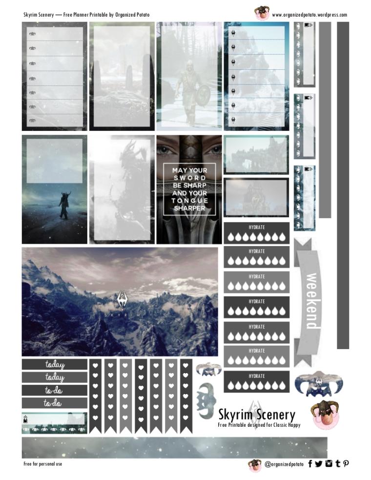 Free Planner Printable - Skyrim Scenery for Happy Planner Classic #planner #printable #freeprintables #plannerprintables #skyrim #erincondren #mambi #meandmybigideas #plannerideas #plannerinspo #plannerstickers #stickers #dovahkiin #snowy #mountains #scenery #ironhelm #fusrodah