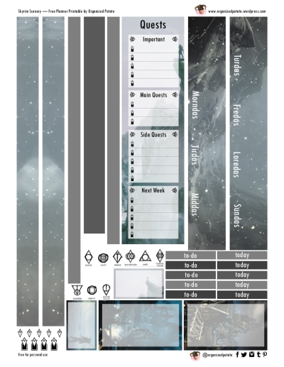 Free Planner Printable - Skyrim Scenery for Happy Planner Classic #planner #printable #freeprintables #plannerprintables #skyrim #erincondren #mambi #meandmybigideas #plannerideas #plannerinspo #plannerstickers #stickers #dovahkiin #snowy #mountains #scenery #ironhelm