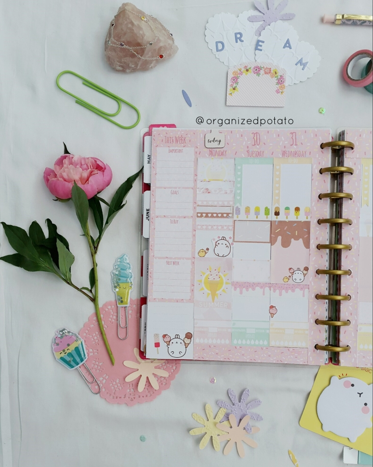 #weeklyspread in my #happyplanner using the Strawberry Ice Cream #freeprintable by #organizedpotato . #freeplannerprintable #plannerprintable #plannerprintables #planner #happyplannerclassic #mambi #eclp #erincondren #molang #cute #kawaii #sprinkles #icecream #pink
