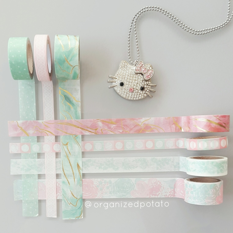 happy #washiwednesday ! This week I'm showing off this totally #glam Hello Kitty necklace with pastel pink and mint green #washi tape! #planner #plannerideas #plannerinspo #happyplanner #erincondren #eclp #filofax #jewelry #jewlery #necklace #bling #hellokitty #marble #goldfoil #gold #silver