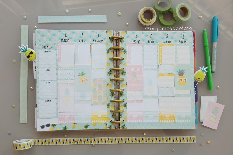 Kawaii Pastel Pineapple Weekly Spread in my Happy Planner Classic. #planner #happyplanner #pineapple #pineapples #kawaii #pastel #freeprintable #freeplannerprintable #summer #sunglasses #summerprintable #plannerprintable #summerplanner #erincondren #erincondrenlifeplanner #happyplannerclassic #kikkik #meandmybigideas #create365 #filofax #bujo #bulletjournal #plannerideas #plannerinspiration