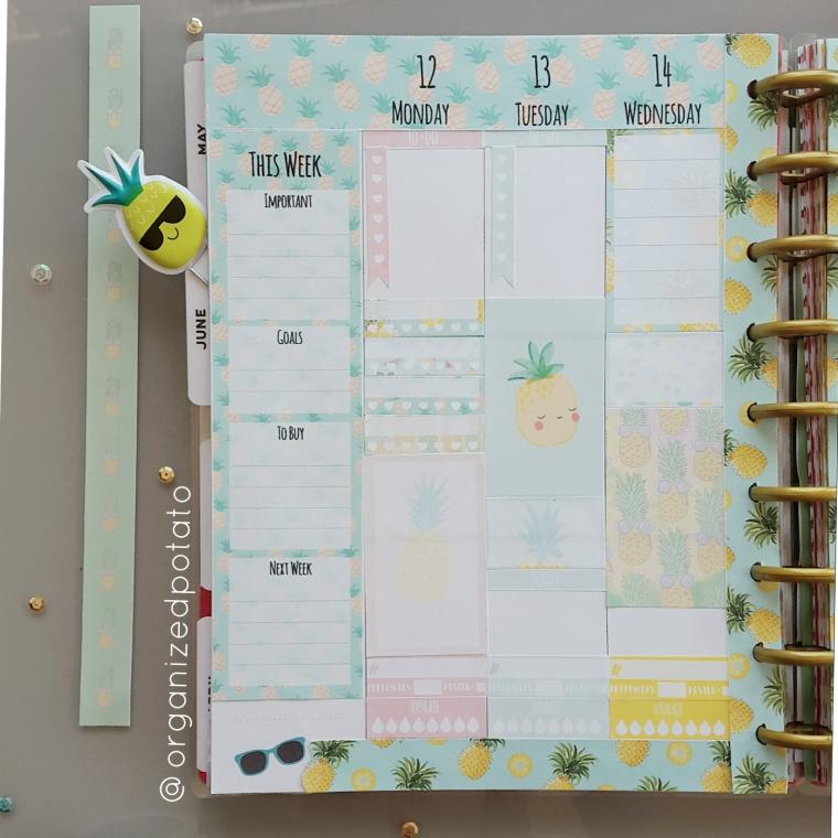 Kawaii Pastel Pineapple Weekly Spread in my Happy Planner Classic. #planner #happyplanner #pineapple #pineapples #kawaii #pastel #freeprintable #freeplannerprintable #summer #sunglasses #summerprintable #plannerprintable #summerplanner #erincondren #erincondrenlifeplanner #happyplannerclassic #kikkik #meandmybigideas #create365 #filofax #bujo #bulletjournal #plannerideas #plannerinspiration