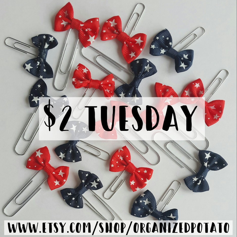 These adorable 4th of July planner clips are part of the $2 Tuesday sale! #plannerclips #planner #paperclips #sale #twodollartuesday #plannersupplies #plannerideas #plannerinspo #cheapplannersupplies #erincondren #happyplanner #bujo #bulletjournal #kikkik #filofax #websterspages #redwhiteandblue #4thofjuly #july4th #independenceday #starsandstripes #redwhiteandblue #landofthefree #homeofthebrave #usa #america #americana #american