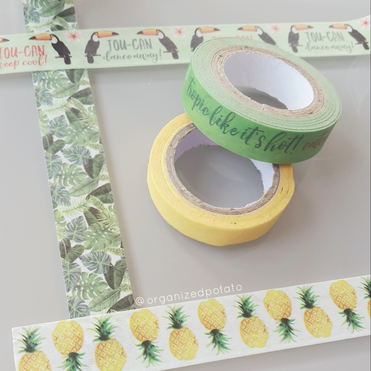 happy washi wednesday! #washi #washitape #washiwednesday #tropical #pineapples #tropicalleaves #tropiclikeitshot #toucan #yellow #green #plannerideas #plannerinspo #erincondren #filofax #happyplanner #makeitwithmichaels #michaels #washitapeideas