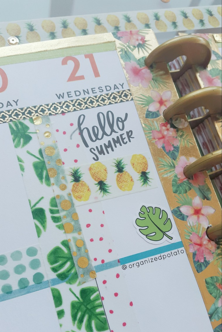 June 19-25 Weekly Spread [left page] #happyplanner #planner #plannerinspo #plannerideas #washi #washitape #summer #firstdayofsummer #tropical #flamingo #flamingos #pineapple #pineapples #monsteraleaf #tropicalleaf #tropicalleaves #erincindren #filofax #kikkik #freeprintable #plannerprintable #beforethepen