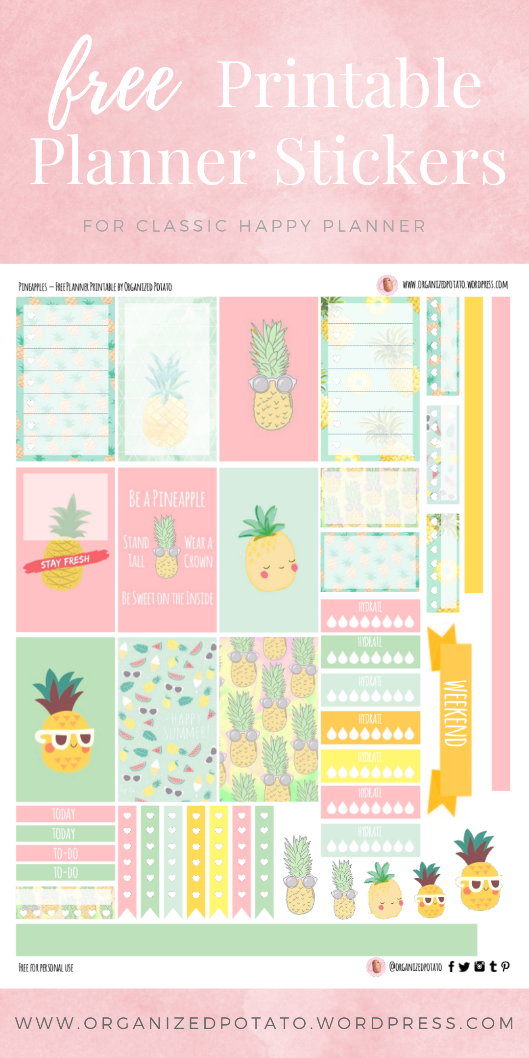 photograph relating to Free Printable Pineapple referred to as No cost Planner Printable: Pineapples Well prepared Potato