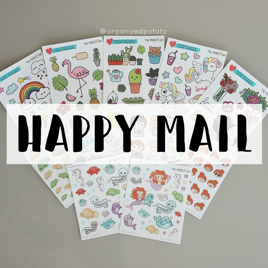 Happy Mail from The Modest Cat #plannersupplies #plannerstickers #stickers #etsyshop #etsystickers #themodestcat #tmcplanfam
