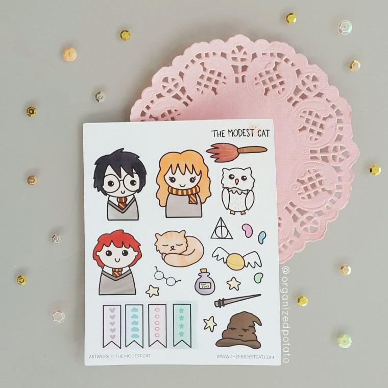 Harry Potter Stickers from The Modest Cat #plannersupplies #plannerstickers #stickers #etsyshop #etsystickers #themodestcat #tmcplanfam #kawaii #harrypotter #ronweasley #hermionegranger #sortinghat #hedwig #goldensnitch #hogwarts #magic