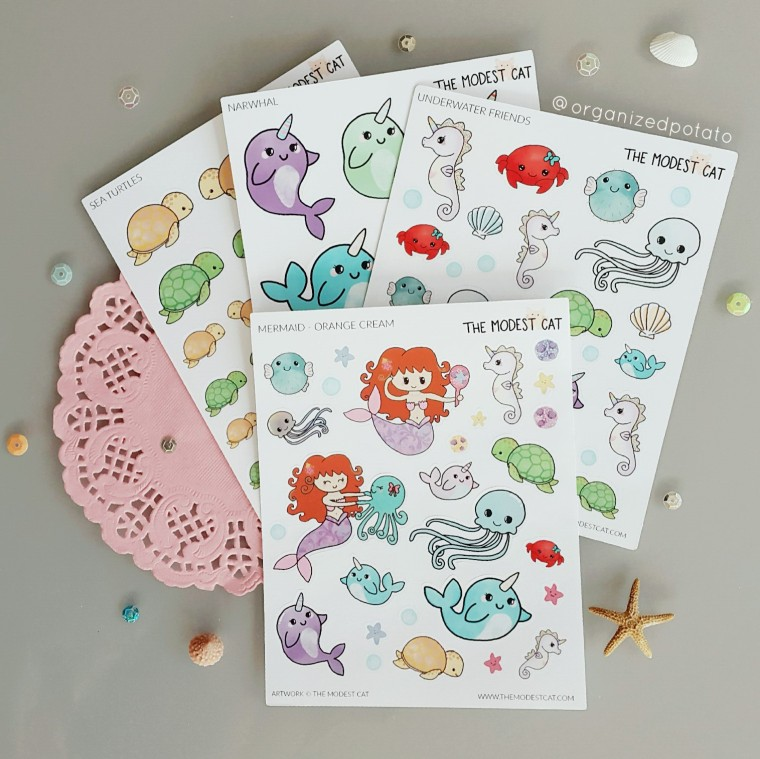 Mermaid Stickers from The Modest Cat #plannersupplies #plannerstickers #stickers #etsyshop #etsystickers #themodestcat #tmcplanfam #kawaii #mermaid #turtle #narwhal #crab #seahorse #jellyfish #beach #ocean