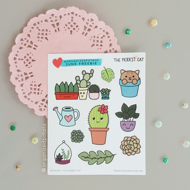Organizedpotato Exclusive Stickers from The Modest Cat #plannersupplies #plannerstickers #stickers #etsyshop #etsystickers #themodestcat #tmcplanfam #kawaii #succulents #cacti #flowers #floral #cat #cats #leaf #leaves