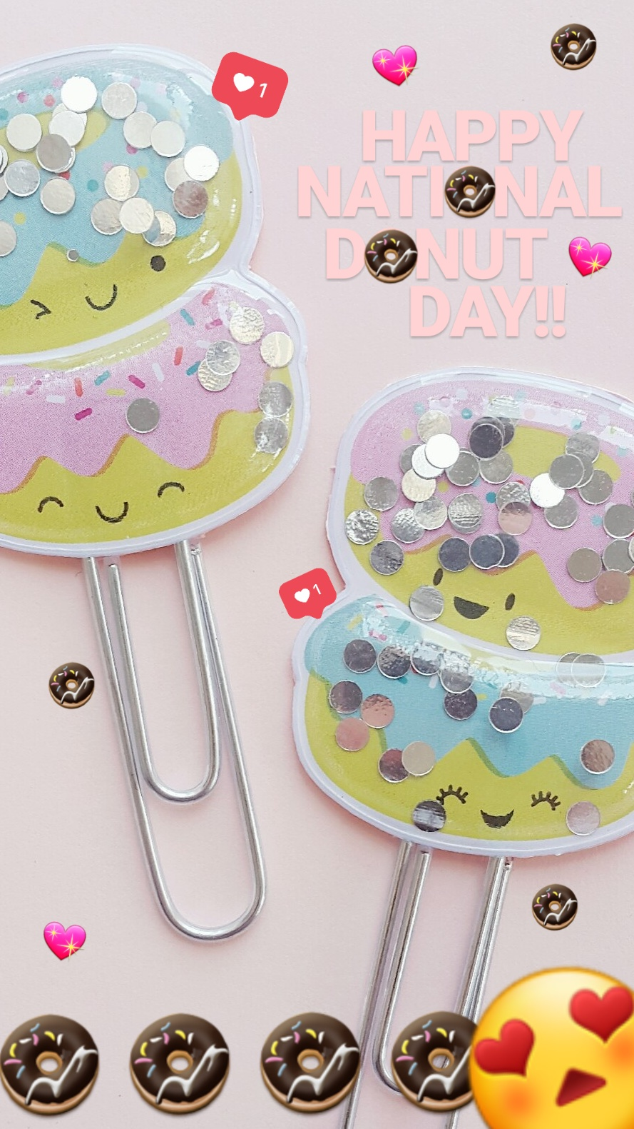 Aren't these just the CUTEST shaker clips! Happy Nationa Donut Day! 🍩 #planner #planneraccessories #plannerclip #plannerclips #shaker #shakers #shakerclip #shakerclips #paperclip #paperclipDIYs #paperclipcraft #cute #kawaii #donut #donuts #doughnuts #nationaldonutday #nationaldoughnutday #bujo #bulletjournal #happyplanner #plannerideas #plannerinspo #eclp #erincondren #sprinkles #pink #pastel