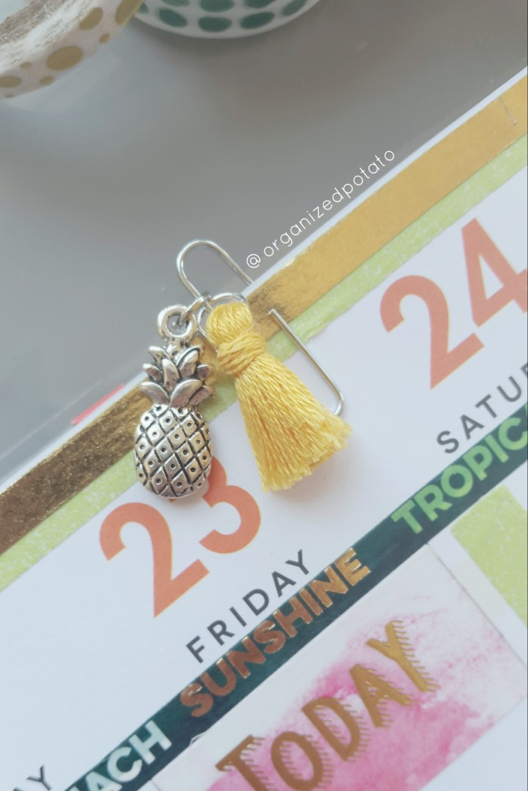 Mini Tassel Pineapple Planner Clip #planner #happyplanner #plannerclip #paperclip #plannerclips #paperclips #erincondren #kikkik #filofax #summer #pineapple #tassel #yellow #fun #summerfun #firstdayofsummer #planneraccessories #planneraccessory #plannerideas #plannerinspo #silver #cute