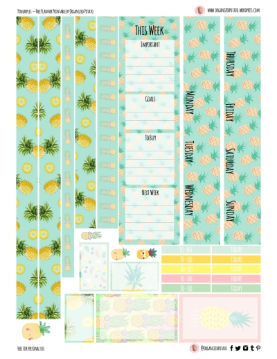 Pineapples - Free Planner Printable for Happy Planner Classic #planner #planwithme #eclp #happyplanner #mambi #create365 #freeprintables #freestickers #plannerprintables #pineapple #pastel #pink #kawaii #summer