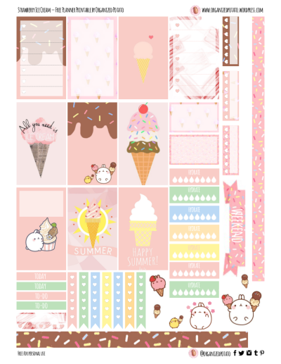 Free Planner Printable - Strawberry Ice Cream for Happy Planner Classic #planner #printable #freeprintables #plannerprintables #molang #kawaii #icecream #popsicle #summer #cute #erincondren #mambi #meandmybigideas #plannerideas #plannerinspo #plannerstickers #stickers #pink #pastel #pastelpink #freeplannerprintables #pinkicecream #strawberry #strawberryicecream