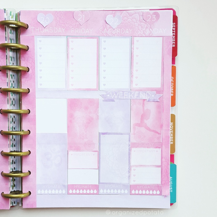 July 17-23 Weekly Spread, Right Page. #planner #plannergirl #plannercommunity #happyplanner #mambiplanner #mambi #meandmybigideas #happyplannerclassic #hpc #erincondren #eclp #filofax #kikkik #tn #travelersnotebook #websterspages #plannerstickers #plannerkit #weeklykit #yoga #zen #boho #elephants #zentangle #mandala #om #yogaposes #etsy #etsyfinds #etsyshop