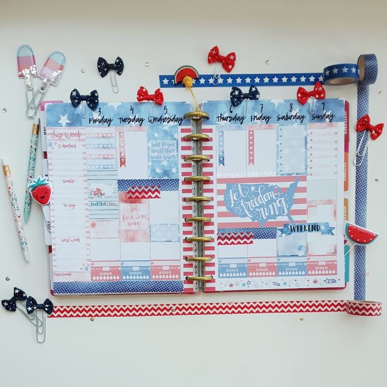 July 3-9 Weekly Spread #beforethepen #happyplanner #plannerideas #plannerinspo #plannerinspiration #mambi #meandmybigideas #4thofjuly #july4th #starsandstripes #homeofthefreebecauseofthebrave #homeofthefree #USA #america #americana #redwhiteandblue #liberty #eclp #erincondren #freeprintable #plannerprintable #freeplannerprintable #bujo #bulletjournal #filofax