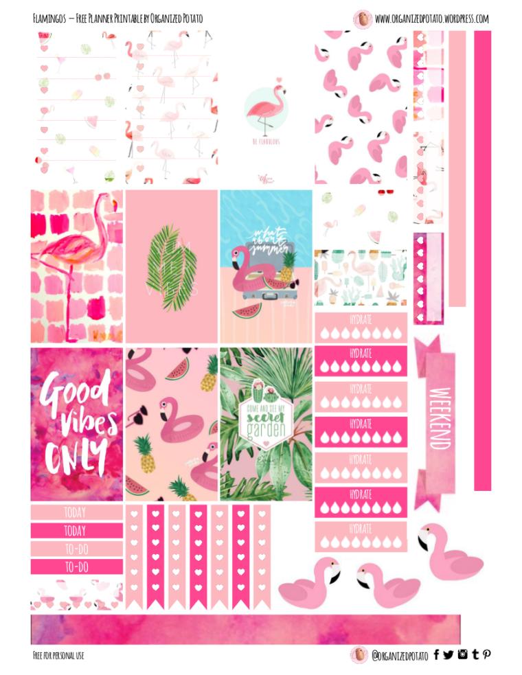 Free Planner Printable: Flamingos – Organized Potato