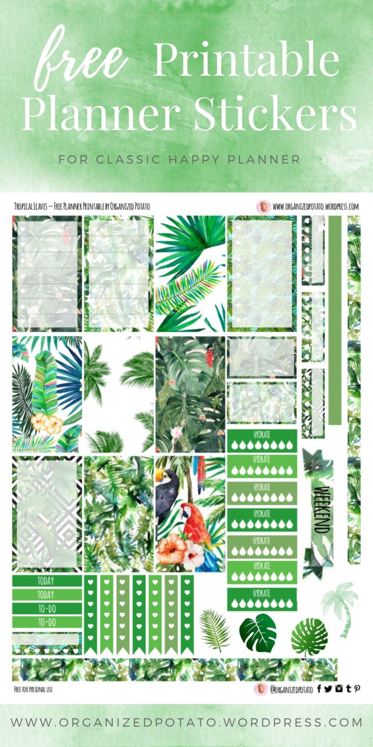 Free Printable Planner Stickers for Classic Happy Planner by Organized Potato - For use in Happy Planner, Erin Condren, Bullet Journal, scrapbooking, and other paper crafts. Great free DIY stationery craft! These summery stickers include pictures of tropical palm leaves, tropical birds such as parrots and toucans, and monstera leaves.