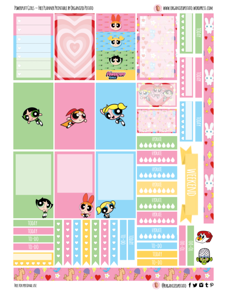 Powerpuff Girls Free Printable for Happy Planner Classic #plannerprintables #happyplanner #freeprintable #printable #powerpuff #powerpuffgirls #blossom #bubbles #buttercup #mojojojo #thepowerpuffgirls #cartoonnetwork #90s #the90s #90sthrowback #nostalgia #nostalgic #pink #hearts #erincondren #kikkik #bujo #bulletjournal #plannerideas #bujoideas #DIYstickers #stickers #ppg