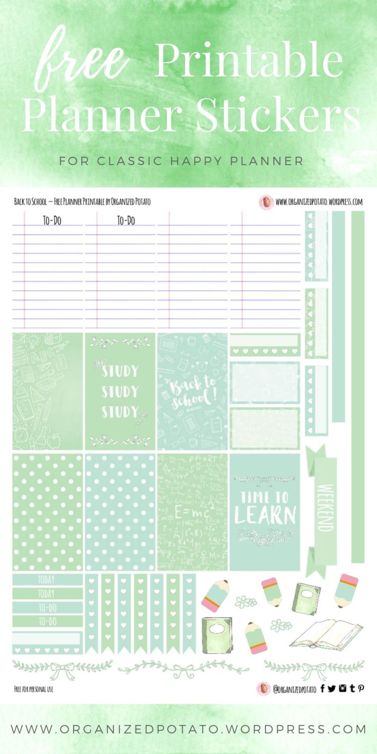 Back to School - Free Printable Planner Stickers for Classic Happy Planner by Organized Potato - For use in Happy Planner, Erin Condren, Bullet Journal, scrapbooking, and other paper crafts. Great free DIY stationery craft! These cute and whimsical stickers include feature pastel colors (mint green), polka dots, cute back to school clip art like books and pencils, and motivational study quotes. Perfect for your next DIY stationery project!