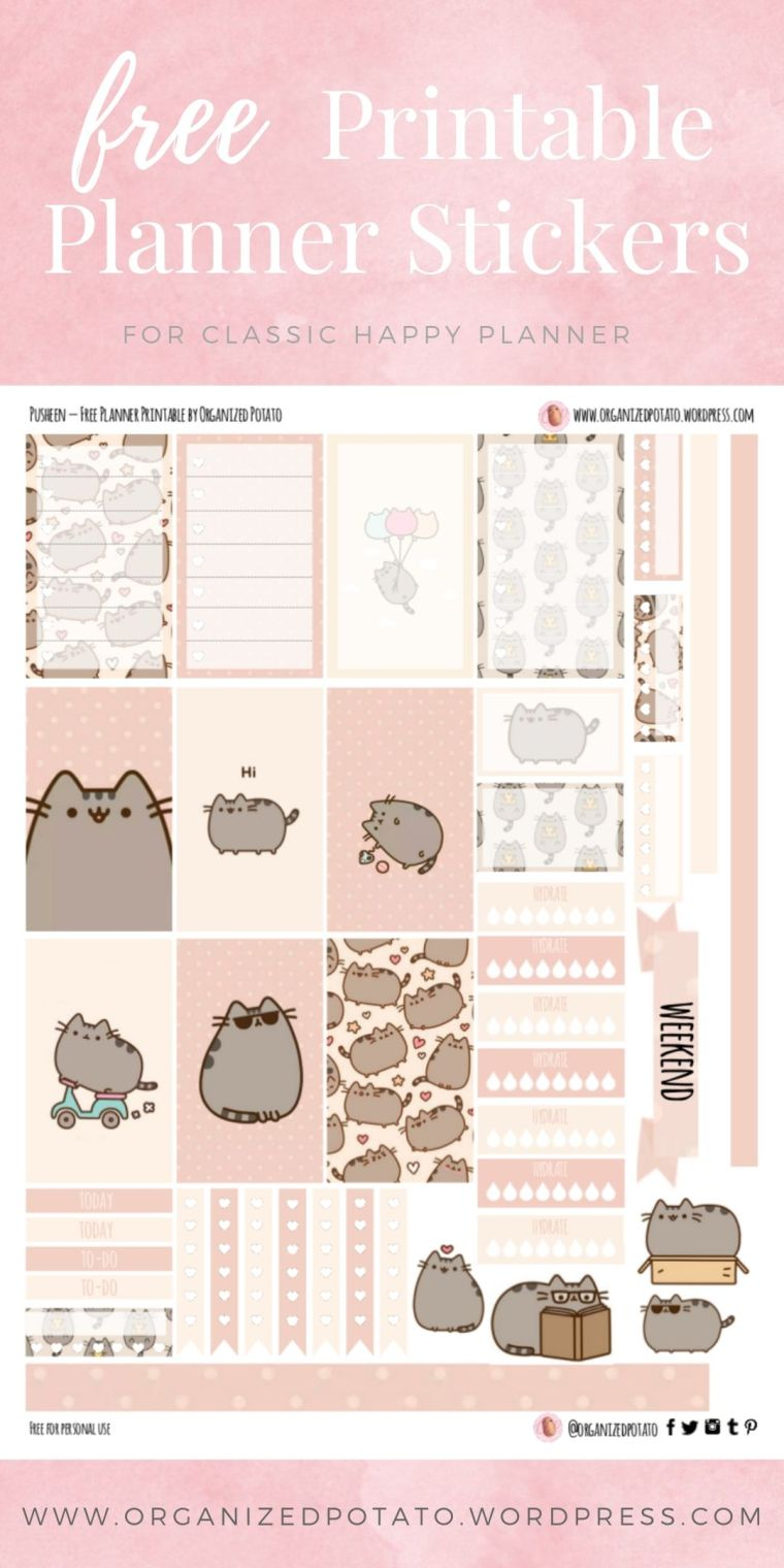 Pusheen The Cat - Free Printable Planner Stickers for Classic Happy Planner by Organized Potato - For use in Happy Planner, Erin Condren, Bullet Journal, scrapbooking, and other paper crafts. Great free DIY stationery craft! These super kawaii stickers are ready for your planner! Bring the super kawaii kitty that everyone loves to your planner with these adorable free stickers. Includes bonus clip art deco stickers! Perfect for your next DIY stationery project! #bujo #bulletjournal #cute #cats #pusheen #pink #kawaii #DIYcrafts #molang #hellokitty #rilakkuma