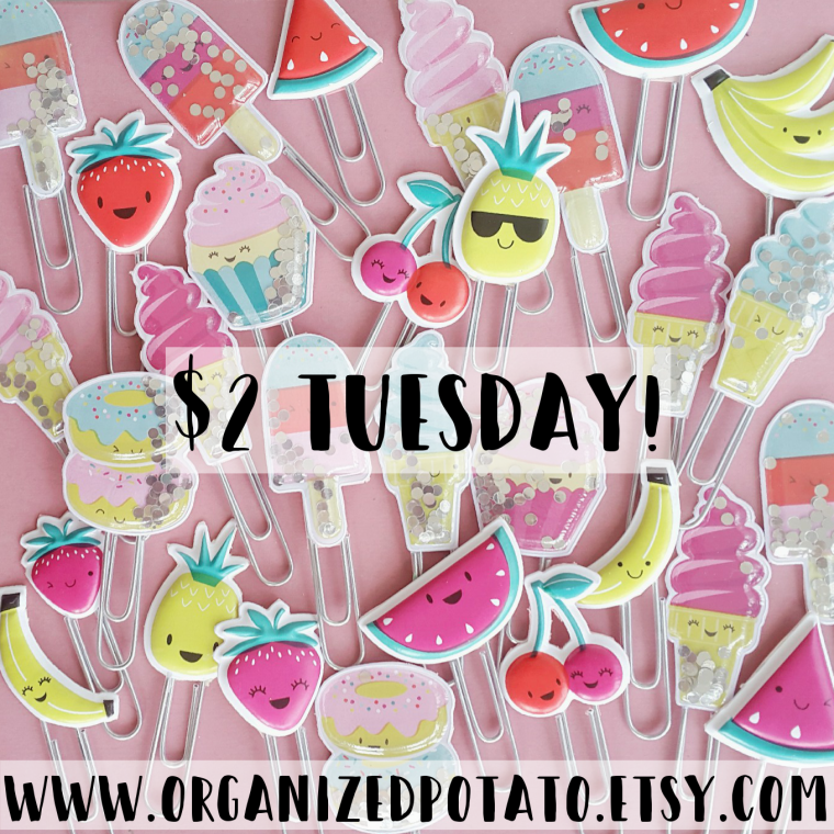 $2 Tuesday Sale in my Etsy shop! #twodollartuesday #2dollartuesday #etsy #etsysale #etsyfinds #etsyseller #planner #plannerclips #shakerclips #kawaii #planneraccessories #fruit #donuts #icecream #popsicles #pineapples #strawberries #bananas #cherries #watermelon #organizedpotato