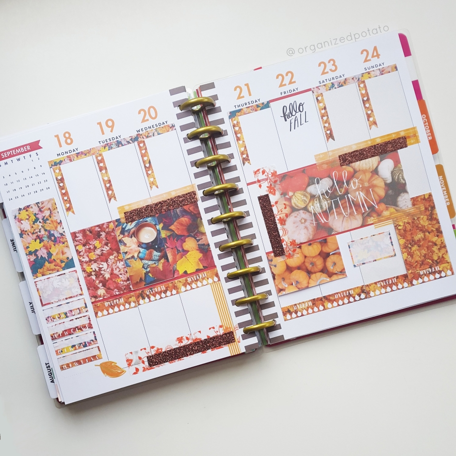 Weekly Spread for September 18-24 in my Classic Happy Planner #happyplanner #classichappyplanner #organizedpotato #fall #autumn #helloautumn #hellofall #firstdayoffall #fallishere #fallleaves #autumnleaves #plannerprintable #plannerideas #plannerinspo #DIY #printable #freeplannerprintable #erincondren #eclp #mambi #meandmybigideas #planner #filofax #websterspages #recollectionsplanner #kikkik #travelersnotebook #bujo #bulletjournal #bujoideas #bujoinspo #happyplannerprintables #fallprintable #autumnprintable