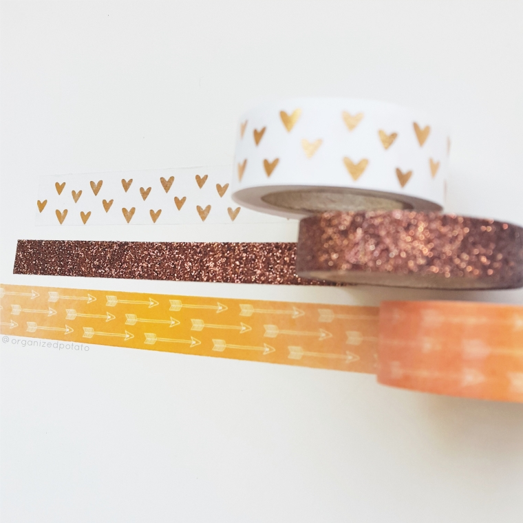 Washi Wednesday - Autumn washi! #washi #washitape #washihoarder #washiaddict #washilove #fall #autumn #hearts #glitter #arrows #orange #brown #gold #plannersupplies #planneraccessories