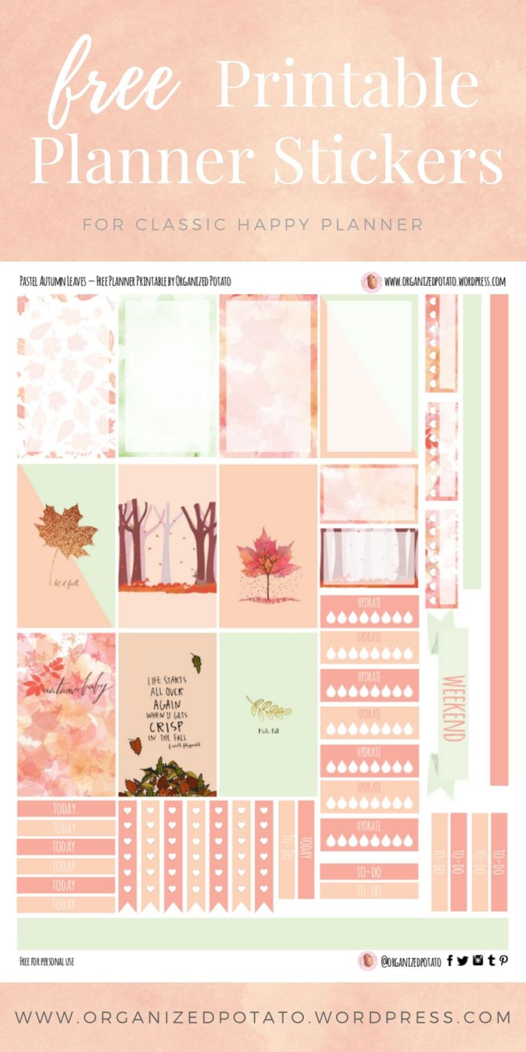 Pastel Fall Leaves - Free Printable Planner Stickers for Classic Happy Planner by Organized Potato - For use in Happy Planner, Erin Condren, Bullet Journal, scrapbooking, and other paper crafts. Great free DIY stationery craft! These super cute stickers are ready for your planner! Bring the beautiful fall colors that everyone loves to your planner with these adorable free stickers. Perfect for your next DIY stationery project! #bujo #bulletjournal #cute #leaves #halloween #autumn #pumpkins #DIYcrafts #thanksgiving