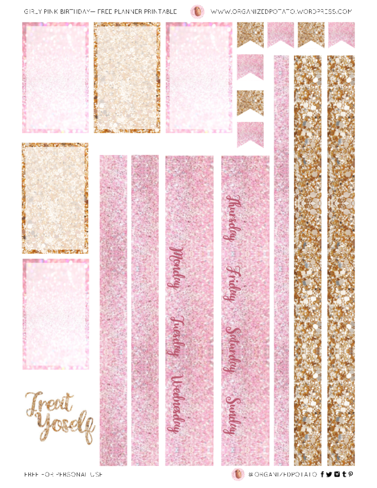 Freebie Friday: Girly Pink Birthday Free Printable for Happy Planner Classic. #planner #plannerprintable #pink #pastelpink #pinkglitter #glitter #gold #birthday #pinkbirthday #happybirthday #freeprintable #printable #organizedpotato #cake #birthdaycake #mambi #erincondren #plannerideas #DIY #crafts #scrapbooking #papercraft #freebiefriday