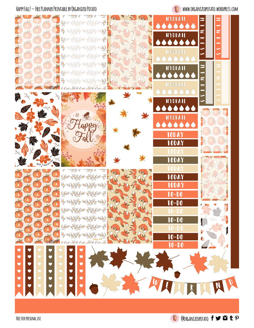 picture relating to Free Printable Happy Planner Stickers named Free of charge Planner Printable: Pleased Tumble! Geared up Potato