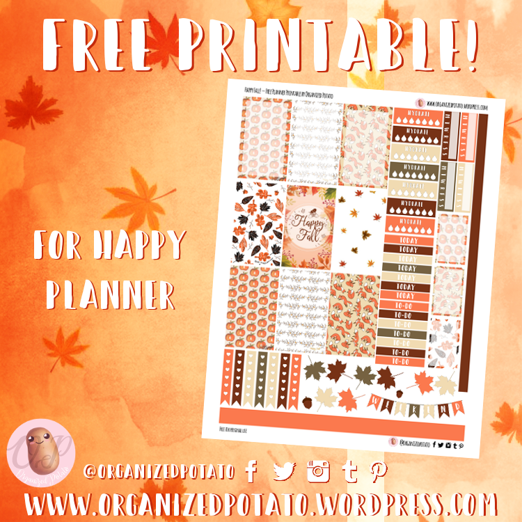 picture relating to Happy Planner Printable named Free of charge Planner Printable: Satisfied Drop! Prepared Potato