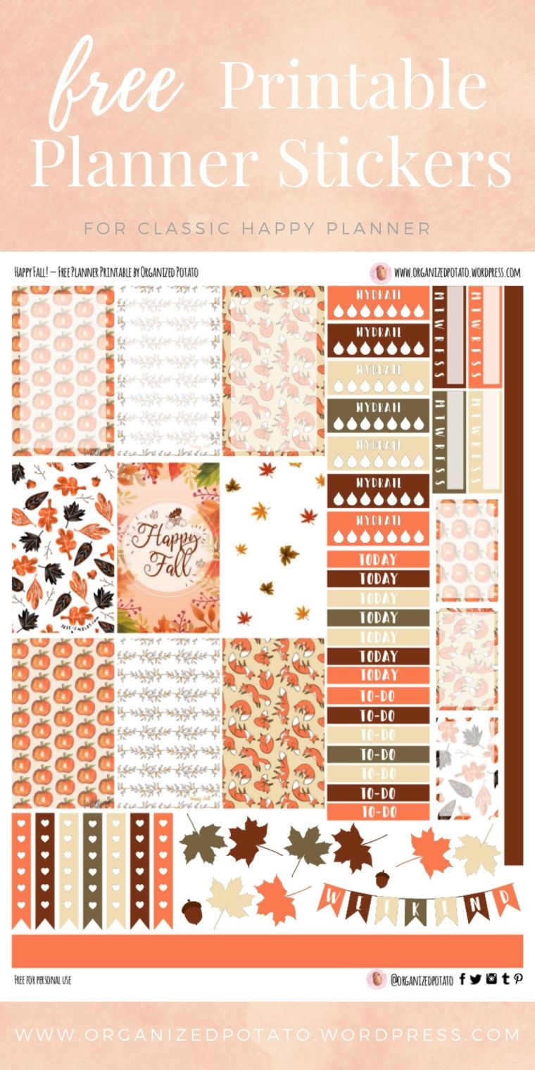 Happy Fall - Free Printable Planner Stickers for Classic Happy Planner by Organized Potato - For use in Happy Planner, Erin Condren, Bullet Journal, scrapbooking, and other paper crafts. Great free DIY stationery craft! These super kawaii stickers are ready for your planner! Bring the beautiful fall colors that everyone loves to your planner with these adorable free stickers. Includes bonus clip art deco stickers! Perfect for your next DIY stationery project! #bujo #bulletjournal #cute #leaves #halloween #autumn #pumpkins #DIYcrafts #thanksgiving