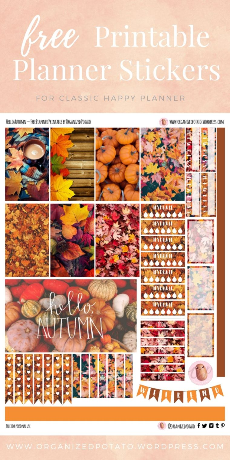 Hello Autumn - Free Printable Planner Stickers for Classic Happy Planner by Organized Potato - For use in Happy Planner, Erin Condren, Bullet Journal, scrapbooking, and other paper crafts. Great free DIY stationery craft! These super cute stickers are ready for your planner! Bring the beautiful fall colors to your planner with these adorable free stickers. Perfect for your next DIY stationery project! #bujo #bulletjournal #cute #leaves #halloween #autumn #pumpkins #DIYcrafts #thanksgiving