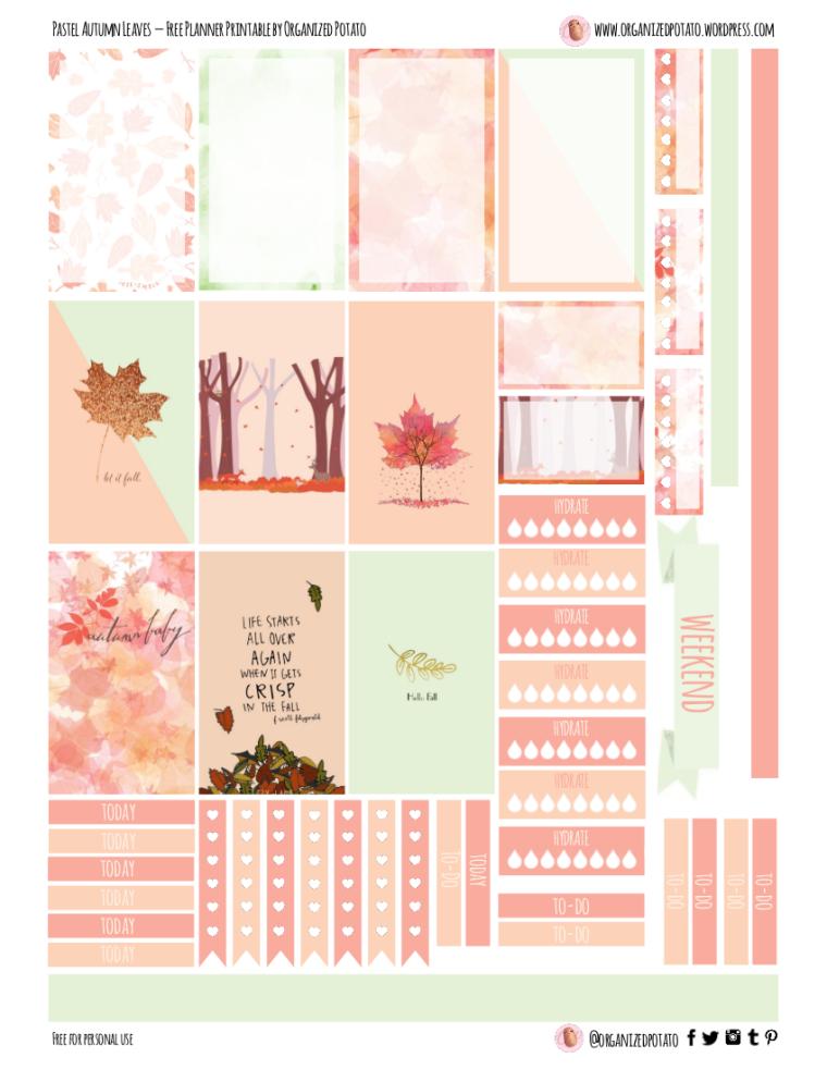 Pastel Fall Leaves - Free Planner Printable for Classic Happy Planner! #organizedpotato #fall #fallleaves #pastel #autumn #autumnleaves #plannerstickers #DIYplannerideas #DIYstickers #printable #plannerprintable #freeprintable #freeplannerprintable #happyplanner #erincondren #filofax #kikkik #bujo #bulletjournal #september