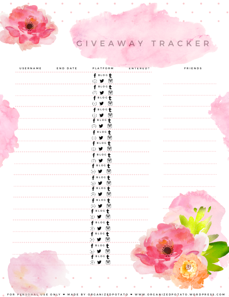 Watercolor Giveaway Tracker