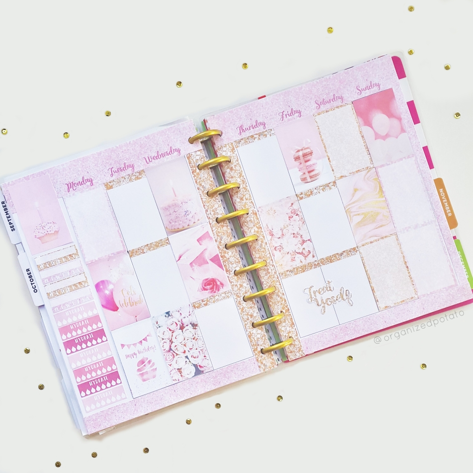 Birthday Week Planner Spread! #girly #pink #glitter #birthday #balloons #roses #flowers #macarons #treatyoself #cake #birthdaycake #cupcake #cupcakes #pinkcupcakes #pinkcake #gold #pinkandgold #planner #plannerinspo #plannerideas #happyplanner #erincondren #filofax #kikkik #travelersnotebook #bujo #bulletjournal #organizedpotato #freeprintable #printable #freeplannerprintable #plannerprintable #happybirthday