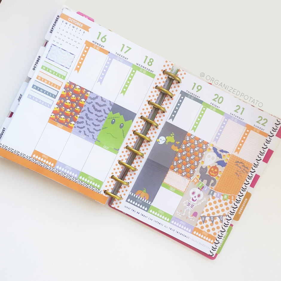 October 16-22 Weekly Spread - #happyplanner #planner #plannergirl #weeklykit #kawaii #halloween #pumpkins #frankenstein #bats #candycorn #skeletons #spooky #freeprintable #plannerprintable #plannerideas #plannerinspo #bujo #erincondren #filofax #websterspages #travelersnotebook