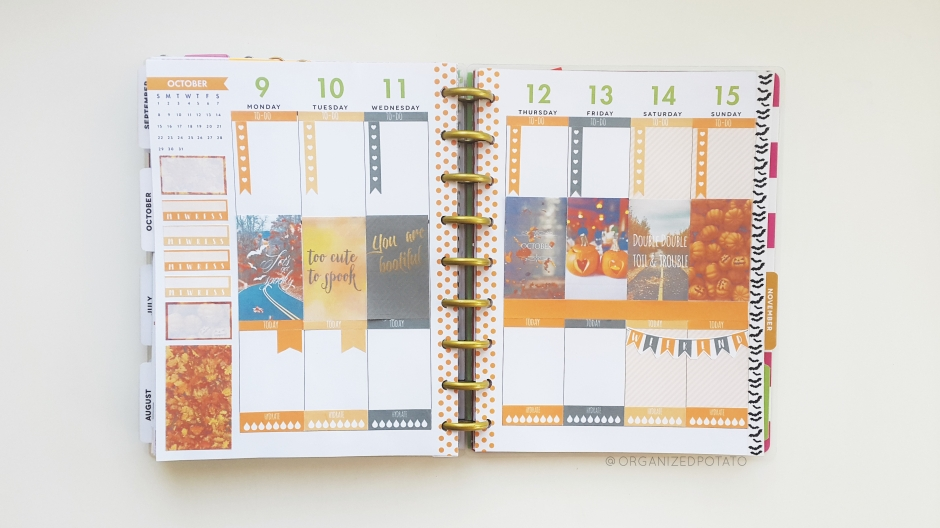 October 9-15 Weekly Spread #halloween #fall #autumn #happyplanner #erincondren #bujo #bulletjournal #websterspages #filofax #kikkik #travelersnotebook #plannerstickers #plannerideas #plannerinspo #plannerDIYideas #plannerDIY #pumpkins #leaves #toocutetospook #spooky #bootiful #doubledoubletoilandtrouble #organizedpotato #plannerprintable #freeprintable #printable #weeklyspread