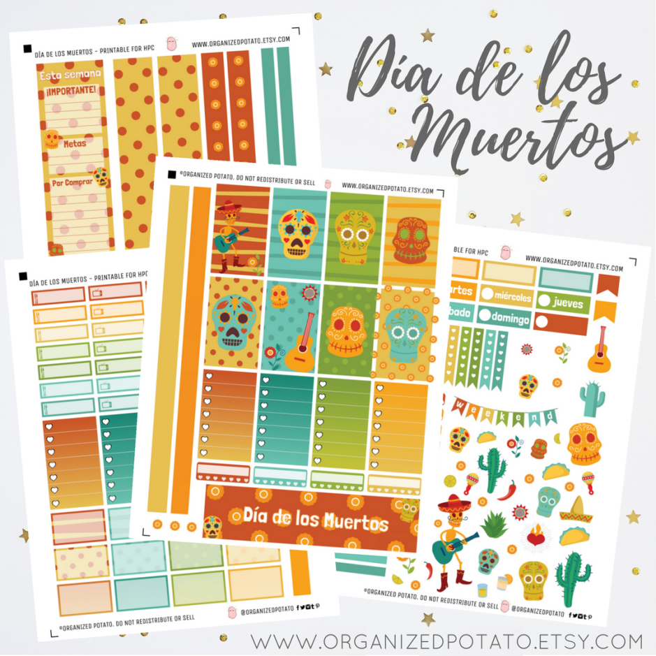Día de los Muertos - Printable for Classic Happy Planner WITH Silhouette cut file! #planner #plannerprintables #printables #díadelosmuertos #diadelosmuertos #dayofthedead #sugarskull #skull #calavera #marigold #marigolds #colorful #rainbow #happyplanner #bulletjournal #bujo #bujoideas #happyplannerideas #plannerideas #travelersnotebook #foxyfix #filofax #websterspages #erincondren #eclp #organizedpotato